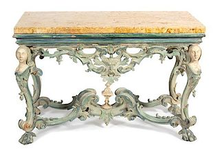 An Italian Baroque Style Painted Marble Top Console Table Height 33 x width 49 1/2 x depth 24 inches.