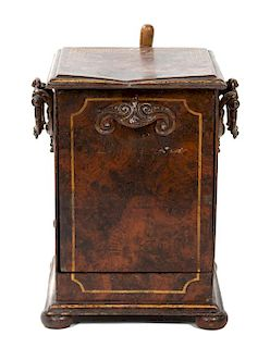 An English Painted Metal Faux-Burlwood Coal Scuttle Height 17 inches.
