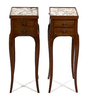 A Pair of Louis XV Style Mahogany Side Tables Height 25 inches.