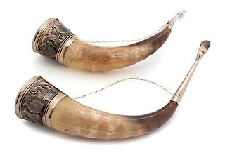 A Pair of Silverplate Mounted Hunting Horns Length 15 1/2 inches.