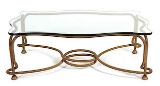 """A Continental Gilt Metal """"Rope"""" Low Table Height 17 x width 49 x depth 34 inches."""