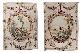A Pair of French Wool and Silk Tapestries 100 x 74 1/2 inches.