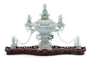 A Chinese Carved Lavender and Celadon Jadeite Censer Height 8 1/2 inches.