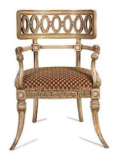 An Italian Style Painted Armchair Height 35 1/2 inches.