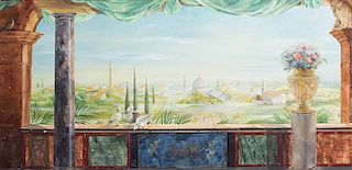 A Continental Painted Canvas Panel Height 78 x width 52 inches.