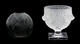 "Lalique, (Post - 1945), ""Bagatelle"" Vase and ""Filicaria"" Vase"