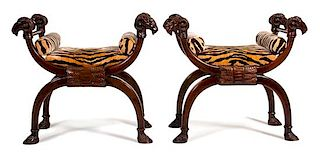 A Pair of Neoclassical Style Carved Curule-Form Benches Height 30 x width 32 x depth 18 inches.