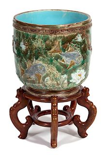 A Majolica Porcelain Jardinière Height 18 inches.