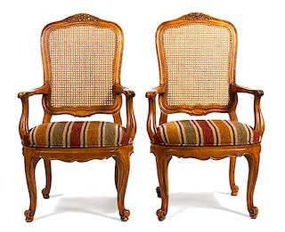 A Set of Six Louis XV Style Dining Chairs Height 42 inches.