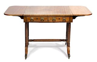 A Regency Style Mahogany Sofa Table Height 29 x width 30 x depth 29 inches.