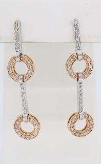 Two Tone Rose and White Gold Diamond Dangle Earrings