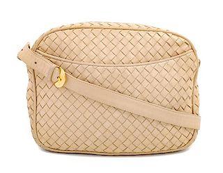 """A Bottega Veneta Beige Intrecciato Shoulder Bag, 7.5"""" H X 10"""" W x 2.5"""" D; Strap drop: 15.5""""-18.5""""."""