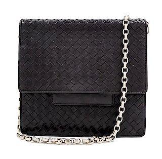 """A Bottega Veneta Black Intrecciato Flap Handbag, 8.5"""" H x 9"""" W x 2.25"""" D; Strap drop: 13.5""""."""