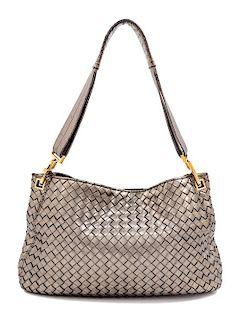 """A Bottega Veneta Bronze Intrecciato Shoulder Bag, 8.75"""" H x 14"""" W x 1.5"""" D; Strap drop: 10.5""""."""