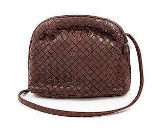 """A Bottega Veneta Brown Intrecciato Small Shoulder Bag, 6"""" H x 8.25"""" W x 2"""" D; Strap drop: 10""""."""
