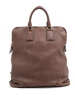 """A Burberry Dark Brown Textured Leather Travel Bag, 17"""" H x 16"""" W x 6"""" D; Handle drop: 5""""."""