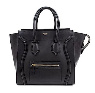 """A Celine Black Smooth Leather Luggage Tote Bag, 12"""" H x 12"""" W x 7"""" D; Handle drop: 6""""."""