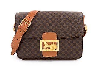 "* A Celine Brown Macadam Pattern Shoulder Bag, 7.5"" H x 9.5"" W x 2.5"" D; Strap drop: 15.5""- 18.5""."