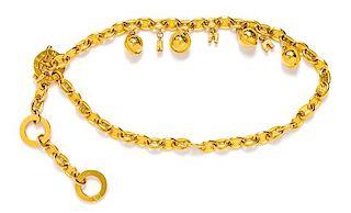 """A Celine Goldtone Arc de Triomphe Vintage Charm Belt, 27""""- 35"""" L x 1.5"""" W."""