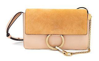 "A Chloe Cement Pink Faye Small Shoulder Bag, 6.3"" H x 9.4"" W x 3.5"" D; Strap drop: 20.1""-22.4""."