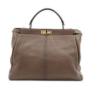 "A Fendi Taupe Leather Large Peekaboo Bag, 12.5"" H x 15.5"" W x 7"" D; Handle drop: 5""."