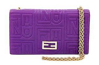 """A Fendi Purple Monogram Embossed Leather Wallet/Shoulder Bag, 4"""" H x 7.5"""" W x .75"""" D; Strap drop: 19""""."""