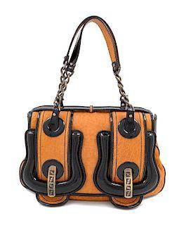"A Fendi Nappa Vernice Patent Leather Satchel, 8"" H x 13"" W x 4"" D; Handle drop: 7""."