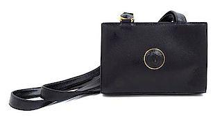 """A Gianni Versace Black Leather Medusa Medallion Shoulder Bag, 6.25"""" H x 9.25"""" W x 2.75"""" D; Strap drop: 19.25""""."""