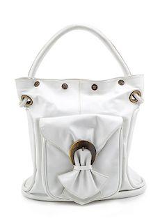"A Versace White Leather Bucket Bag, 13"" H x 13"" W x 5"" D; Handle drop: 6.5""."