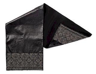 "A Gianni Versace Black Leather Scarf, 39"" L x 11.5"" W."