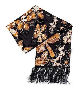 "A Versace Black Silk Semi-Sheer Scarf, 68"" L x 24"" W."