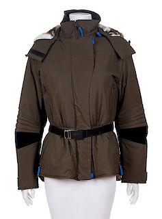 A Versace Sport Army Green Ski Coat, Size 40.