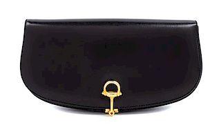 "A Gucci Black Leather Vintage Clutch, 5"" H x 9.5"" W x 1.5"" D."