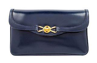 "A Gucci Navy Leather Vintage Rectangular Clutch, 5.5"" H x 10"" W x 1"" D."