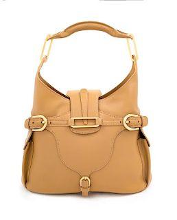 "A Jimmy Choo Camel Leather Tulita Hobo Bag, 10.5"" H x 14"" W x 6"" D; Handle drop: 7""."