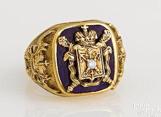 14K yellow gold diamond coat of arms ring