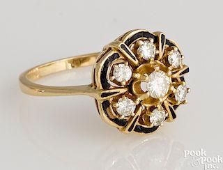 14K yellow gold diamond and black enamel ring