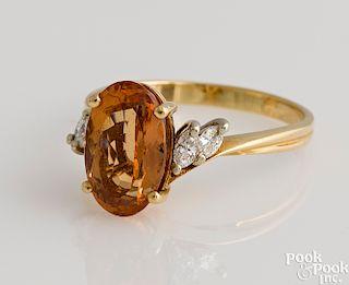 14K gold imperial topaz ring