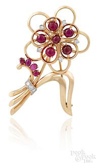 14K yellow gold ruby and diamond flower pin