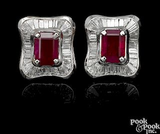 Pair of 18K white gold ruby and diamond earrings