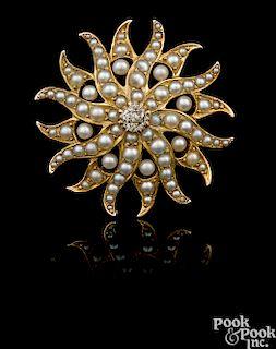 14K yellow gold pearl and diamond starfish pendant