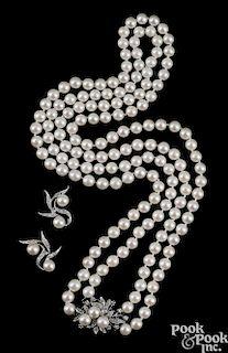 14K white gold pearl and diamond set