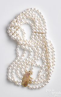 Akoya five-strand pearl necklace