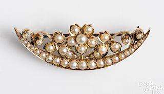 14K gold floral crescent brooch