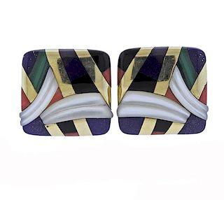 Asch Grossbardt 14K Gold Inlay Gemstone Earrings