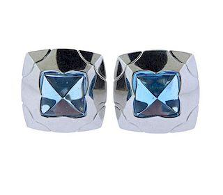Bvlgari Bulgari Piramide 18K Gold Blue Topaz Earrings