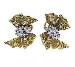 18k Gold Diamond Bow Earrings