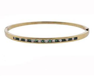 18k Gold Diamond Emerald Bangle Bracelet