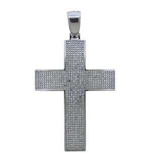 14k Gold 2.10ctw Diamond Cross Large Pendant
