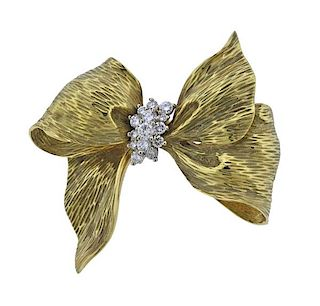 18k Gold Diamond Bow Brooch Pin